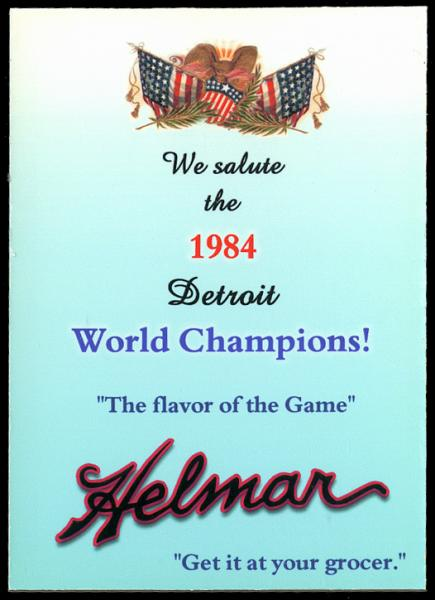 Helmar Brewing Image for Series 1984 Tiger Champs, back of card