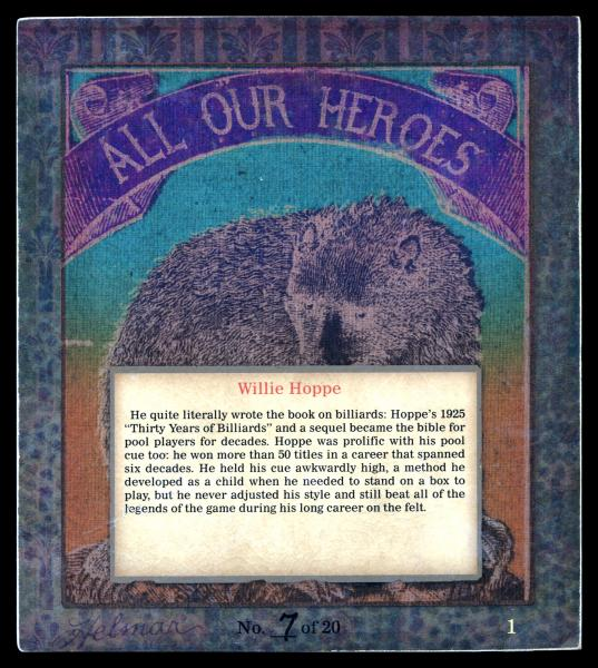 Helmar Brewing Image for Series All Our Heroes, back of card
