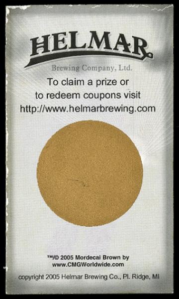 Helmar Brewing Image for Series Famous Athletes, back of card