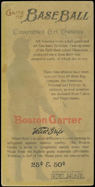 Helmar Brewing Image for Series Helmar H813-4 Boston Garter, back of card