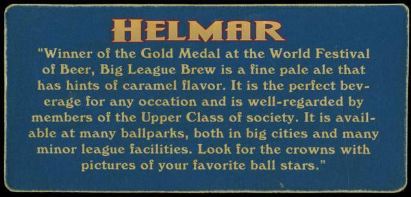 Helmar Brewing Image for Series Helmar Trolley Card Series, back of card