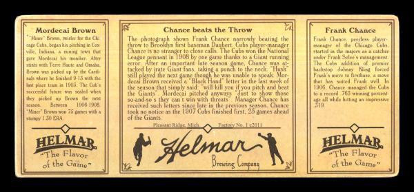 Helmar Brewing Image for Series Helmar T202, back of card