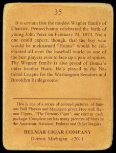 Picture, Helmar Brewing, E145-Helmar Card # 35, Honus WAGNER (HOF), Action, Pittsburgh Natl