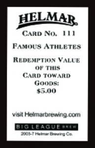 Picture, Helmar Brewing, Famous Athletes Card # 111, Eddie Cicotte, Portrait, Chicago White Sox