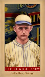 Picture of Helmar Brewing Baseball Card of Dickie Kerr, card number 136 from series Famous Athletes