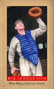 Picture of Helmar Brewing Baseball Card of Moe Berg, card number 162 from series Famous Athletes