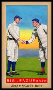 Picture, Helmar Brewing, Famous Athletes Card # 167, Ty COBB (HOF); Honus WAGNER (HOF);, Shaking hands, Multiple