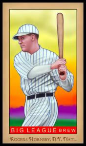 Picture of Helmar Brewing Baseball Card of Rogers HORNSBY (HOF), card number 196 from series Famous Athletes
