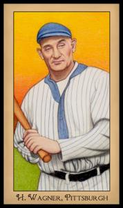 Picture, Helmar Brewing, Famous Athletes Card # 255, Honus WAGNER (HOF), with bat, yellow background, Pittsburgh Pirates