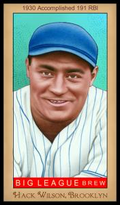 Picture of Helmar Brewing Baseball Card of Hack WILSON, card number 261 from series Famous Athletes
