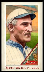 Picture, Helmar Brewing, Famous Athletes Card # 293, Honus WAGNER (HOF), Portrait, looking right, Pittsburgh Pirates