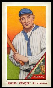 Picture, Helmar Brewing, Famous Athletes Card # 294, Honus WAGNER (HOF), With bat, Pittsburgh Pirates