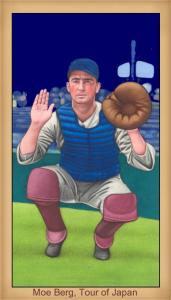 Picture of Helmar Brewing Baseball Card of Moe Berg, card number 6 from series Famous Athletes