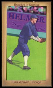 Picture, Helmar Brewing, Famous Athletes Card # 73, Buck Weaver, Fielding and laughing, Chicago White Sox