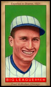 Picture of Helmar Brewing Baseball Card of Fred McMullen, card number 76 from series Famous Athletes