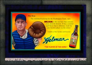 Picture of Helmar Brewing Baseball Card of Moe Berg, card number 1 from series French Silks Giant