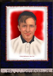 Picture of Helmar Brewing Baseball Card of Christy MATHEWSON (HOF), card number 12 from series French Silks Large
