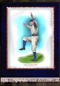 Picture of Helmar Brewing Baseball Card of Hughie JENNINGS (HOF), card number 14 from series French Silks Large