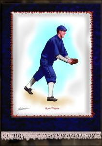 Picture of Helmar Brewing Baseball Card of Buck Weaver, card number 16 from series French Silks Large