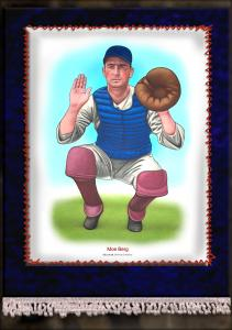 Picture of Helmar Brewing Baseball Card of Moe Berg, card number 5 from series French Silks Large