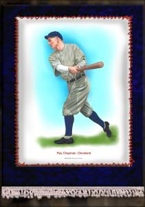 Picture of Helmar Brewing Baseball Card of Ray Chapman, card number 6 from series French Silks Large