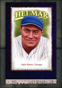 Picture, Helmar Brewing, French Silks Small Card # 22, Hack WILSON, Portrait, Chicago Cubs