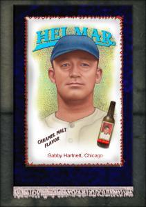 Picture, Helmar Brewing, French Silks Small Card # 23, Gabby HARTNETT, Portrait, Chicago Cubs