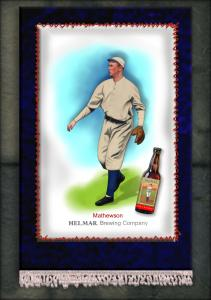 Picture, Helmar Brewing, French Silks Small Card # 4, Christy MATHEWSON (HOF), Throwing, New York Giants