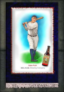Picture, Helmar Brewing, French Silks Small Card # 8, Babe RUTH (HOF), Full Body, New York Yankees
