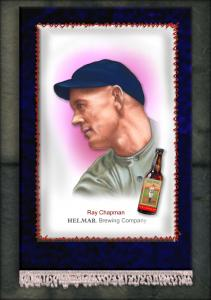 Picture of Helmar Brewing Baseball Card of Ray Chapman, card number 9 from series French Silks Small
