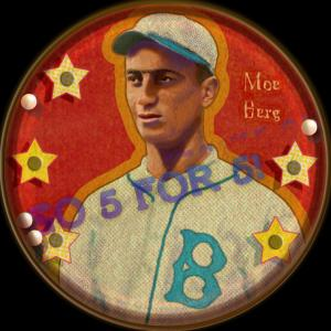 Picture of Helmar Brewing Baseball Card of Moe Berg, card number 6 from series Getcha Scorecard! Series
