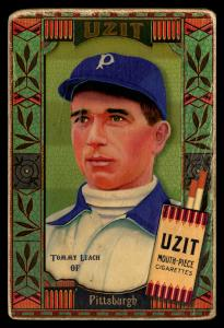 Picture, Helmar Brewing, Helmar Oasis Card # 209, Tommy Leach, Green stripe background, Pittsburgh Pirates