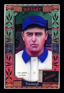 Picture, Helmar Brewing, Helmar Oasis Card # 251, George Gibson, Helmar sign behind, Pittsburgh Pirates