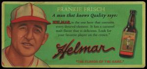 Picture of Helmar Brewing Baseball Card of Frank FRISCH (HOF), card number 12 from series Helmar Trolley Card Series