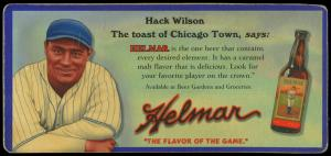 Picture of Helmar Brewing Baseball Card of Hack WILSON, card number 31 from series Helmar Trolley Card Series