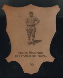 Picture of Helmar Brewing Baseball Card of Honus WAGNER (HOF), card number 36 from series L1 Helmar Leather Cabinet