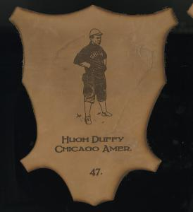 Picture of Helmar Brewing Baseball Card of Hugh DUFFY, card number 47 from series L1 Helmar Leather Cabinet