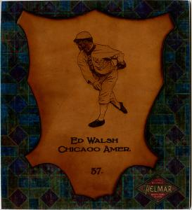 Picture of Helmar Brewing Baseball Card of Ed WALSH (HOF), card number 57 from series L1 Helmar Leather Cabinet