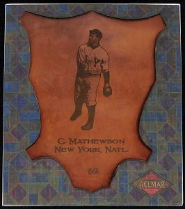 Picture of Helmar Brewing Baseball Card of Christy MATHEWSON (HOF), card number 69 from series L1 Helmar Leather Cabinet