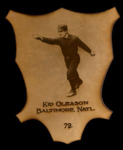 Picture of Helmar Brewing Baseball Card of Kid Gleason, card number 72 from series L1 Helmar Leather Cabinet