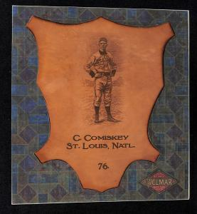 Picture of Helmar Brewing Baseball Card of Charles Comiskey (HOF), card number 76 from series L1 Helmar Leather Cabinet