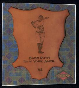 Picture of Helmar Brewing Baseball Card of Babe RUTH (HOF), card number 84 from series L1 Helmar Leather Cabinet