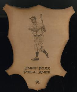 Picture of Helmar Brewing Baseball Card of Jimmie FOXX, card number 91 from series L1 Helmar Leather Cabinet