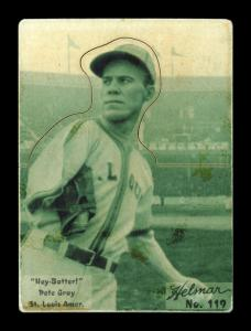 Picture of Helmar Brewing Baseball Card of Pete Gray, card number 119 from series R318-Helmar Hey-Batter!