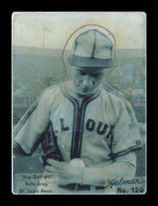 Picture of Helmar Brewing Baseball Card of Pete Gray, card number 120 from series R318-Helmar Hey-Batter!