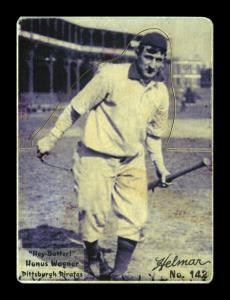 Picture of Helmar Brewing Baseball Card of Honus WAGNER (HOF), card number 142 from series R318-Helmar Hey-Batter!