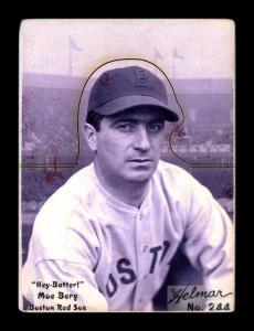 Picture of Helmar Brewing Baseball Card of Moe Berg, card number 244 from series R318-Helmar Hey-Batter!