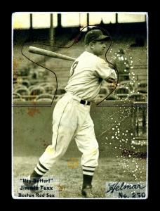 Picture of Helmar Brewing Baseball Card of Jimmie FOXX, card number 250 from series R318-Helmar Hey-Batter!