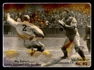 Picture of Helmar Brewing Baseball Card of Gabby HARTNETT, card number 43 from series R318-Helmar Hey-Batter!