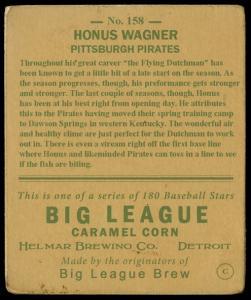 Picture, Helmar Brewing, R319-Helmar Card # 158, Honus WAGNER (HOF), Bat Over Shoulder, Pittsburgh Pirates